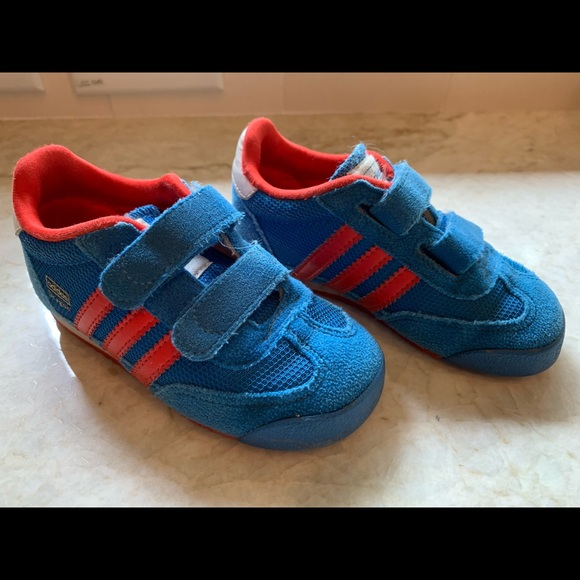 Adidas dragon shoes. Blue/Red. Toddler size 7.